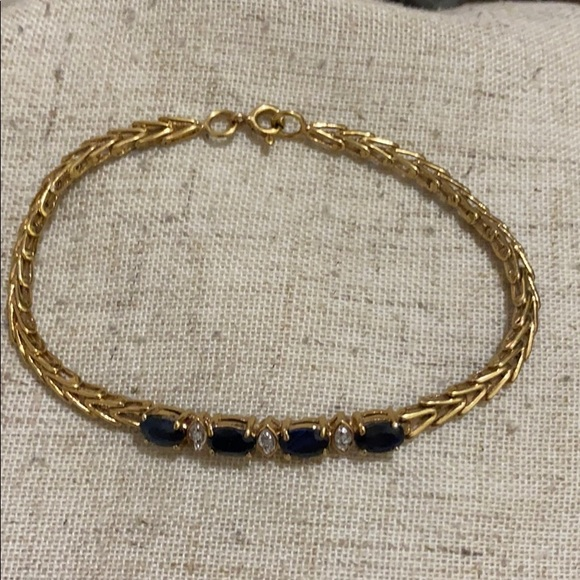 Sterling s gold plated sapphire stone bracelet